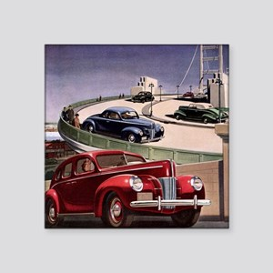 "Vintage Cars on Freeway Square Sticker 3"" x 3"""