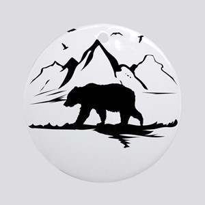 Mountains Wilderness Bear Round Ornament