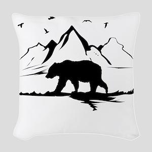 Mountains Wilderness Bear Woven Throw Pillow