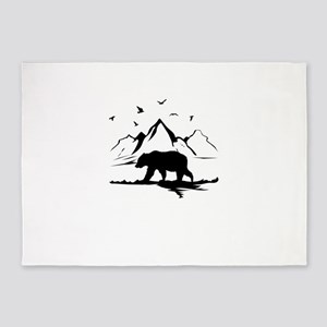 Mountains Wilderness Bear 5'x7'Area Rug
