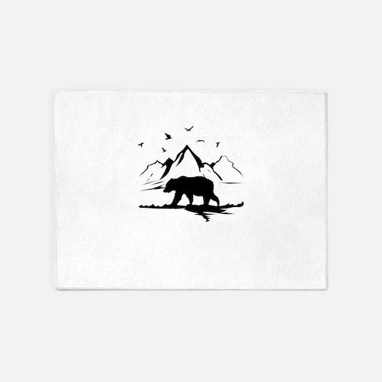 Mountains Wilderness Bear 5'x7'Area Rug