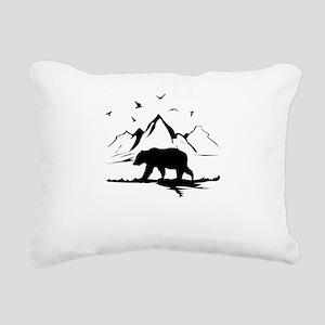 Mountains Wilderness Bear Rectangular Canvas Pillo