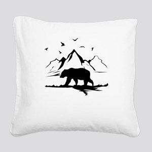 Mountains Wilderness Bear Square Canvas Pillow