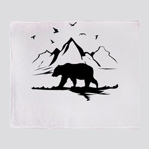 Mountains Wilderness Bear Throw Blanket