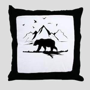 Mountains Wilderness Bear Throw Pillow