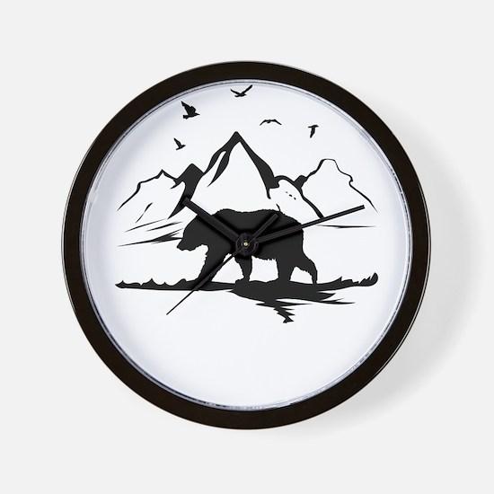 Mountains Wilderness Bear Wall Clock