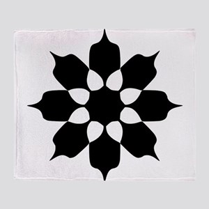 BLACK AND WHITE FLOWER PATTERN Throw Blanket