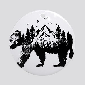 Bear Woods Round Ornament