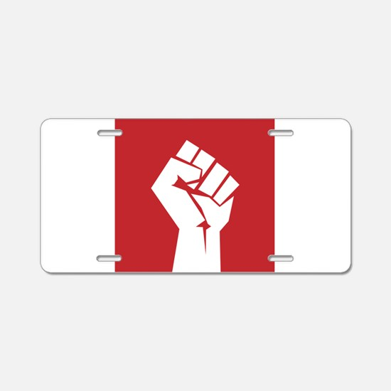Retro fist design on red Aluminum License Plate