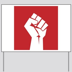 Retro fist design on red Yard Sign