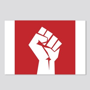 Retro fist design on red Postcards (Package of 8)