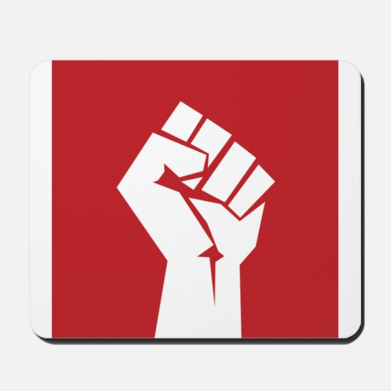 Retro fist design on red Mousepad