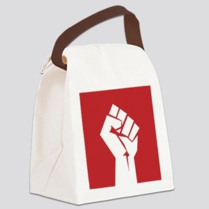 Retro fist design on red Canvas Lunch Bag