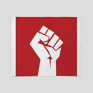 Retro fist design on red Throw Blanket