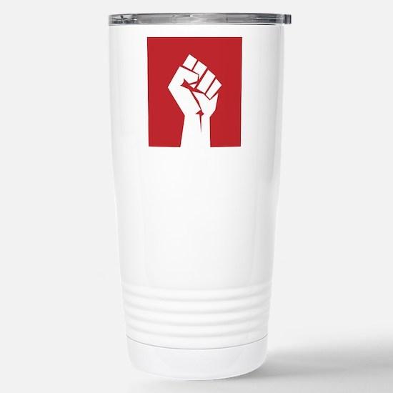 Retro fist design on red Travel Mug