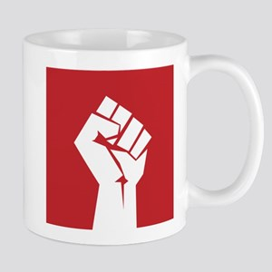Retro fist design on red Mugs