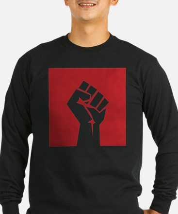 Retro fist design on red Long Sleeve T-Shirt