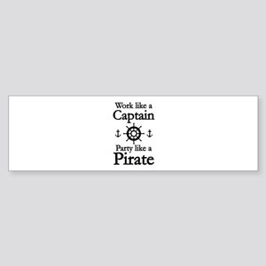 Work Like A Captain Party Like A Pirate Sticker (B