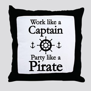 Work Like A Captain Party Like A Pirate Throw Pill