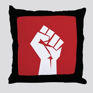 Retro fist design on red Throw Pillow