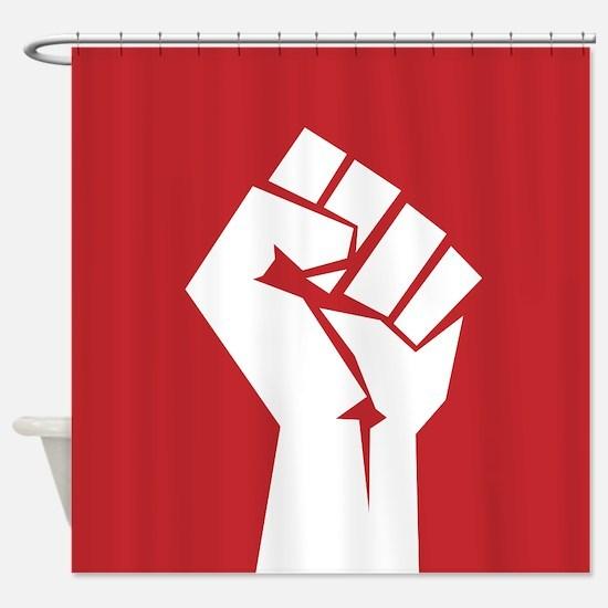 Retro fist design on red Shower Curtain