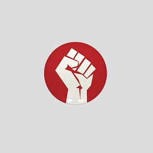 Retro fist design on red Mini Button