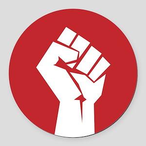 Retro fist design on red Round Car Magnet
