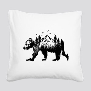 Bear Woods Square Canvas Pillow