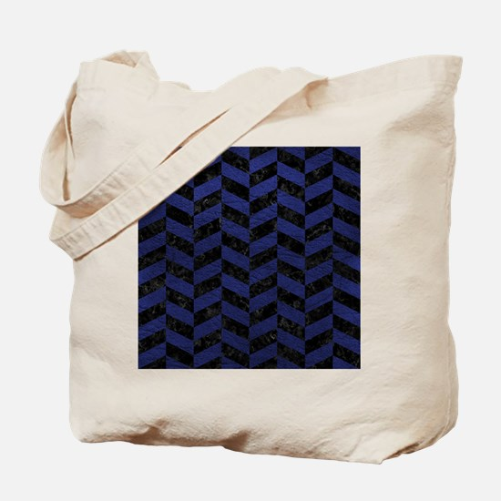 CHEVRON1 BLACK MARBLE & BLUE LEATHER Tote Bag