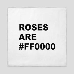 Roses Are #FF0000 Queen Duvet