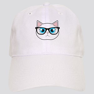 Cute Hipster Cat with Glasses Baseball Cap