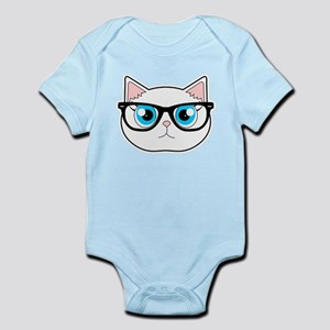 Cute Hipster Cat with Glasses Body Suit