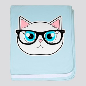 Cute Hipster Cat with Glasses baby blanket