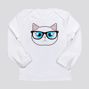 Cute Hipster Cat with Glasses Long Sleeve T-Shirt