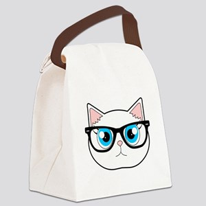 Cute Hipster Cat with Glasses Canvas Lunch Bag