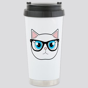 Cute Hipster Cat with Glasses Travel Mug
