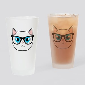 Cute Hipster Cat with Glasses Drinking Glass