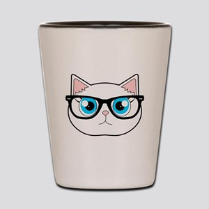 Cute Hipster Cat with Glasses Shot Glass