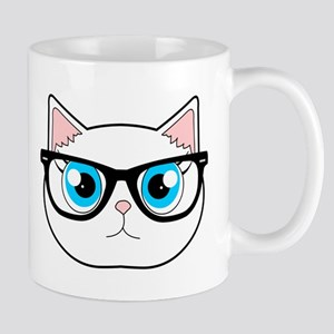 Cute Hipster Cat with Glasses Mugs