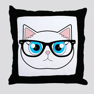 Cute Hipster Cat with Glasses Throw Pillow