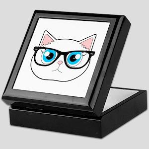 a72818f094b2e Cute Hipster Cat with Glasses Keepsake Box