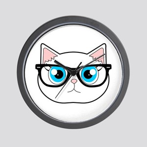 Cute Hipster Cat with Glasses Wall Clock