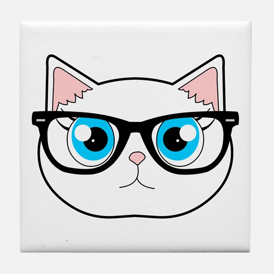 Cute Hipster Cat with Glasses Tile Coaster