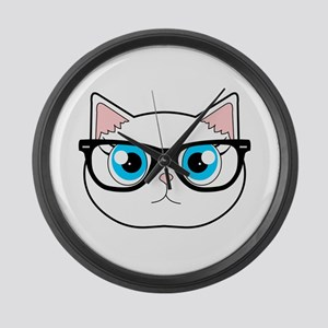Cute Hipster Cat with Glasses Large Wall Clock