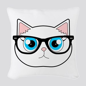 Cute Hipster Cat with Glasses Woven Throw Pillow