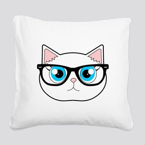 Cute Hipster Cat with Glasses Square Canvas Pillow