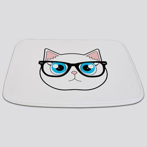 Cute Hipster Cat with Glasses Bathmat