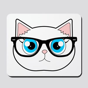 Cute Hipster Cat with Glasses Mousepad