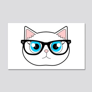 Cute Hipster Cat with Glasses Wall Decal