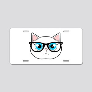 2f5afc11b5a97 Cute Hipster Cat with Glasses Aluminum License Pla